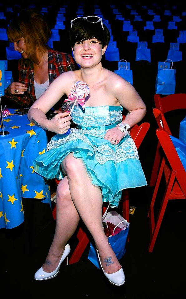 """Kelly Osbourne couldn't have dressed more appropriately for the Betsey Johnson show -- or an '80s prom -- in her turquoise strapless dress, white pump, and white shades. Jim Spellman/<a href=""""http://www.wireimage.com"""" target=""""new"""">WireImage.com</a> - September 9, 2008"""
