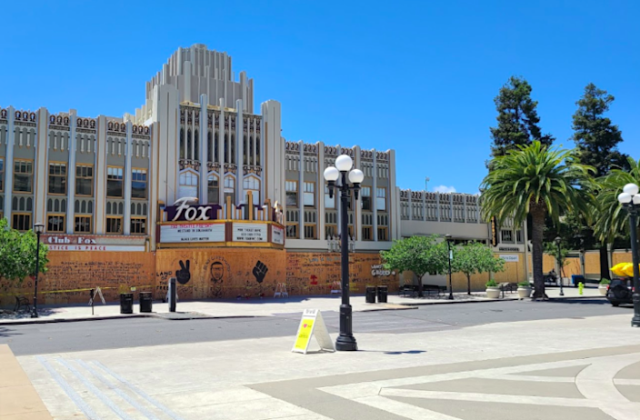 """The asphalt on Courthouse Square in Redwood City is bare again after having """"Black Lives Matter"""" painted on it since the Fourth of July. <span class=""""copyright"""">(Google Maps)</span>"""