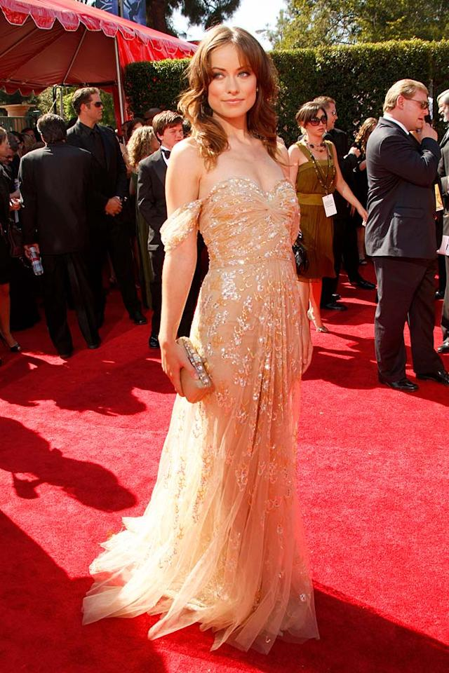 Olivia Wilde arrives at the 59th Annual Primetime Emmy Awards at the Shrine Auditorium on September 16, 2007 in Los Angeles, California.