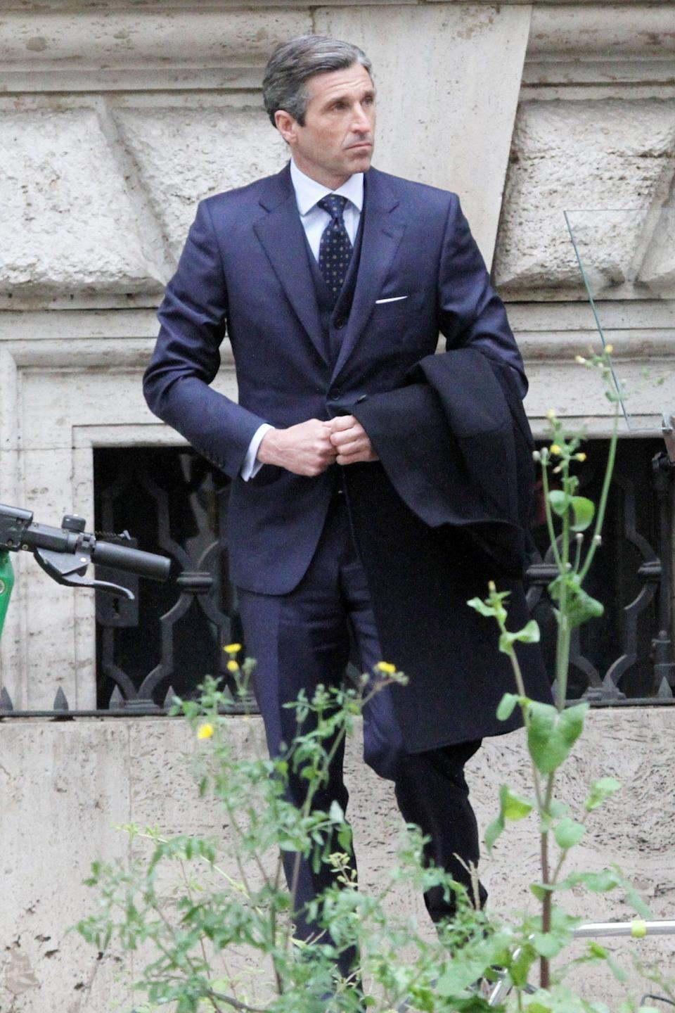 <p>A dapper Patrick Dempsey films <em>Devils</em> in Rome on Thursday.</p>