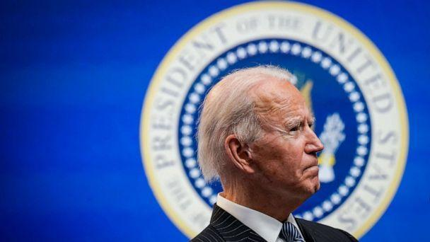 PHOTO: President Joe Biden speaks after signing an executive order related to American manufacturing in the South Court Auditorium of the White House complex on Jan. 25, 2021, in Washington, D.C. (Drew Angerer/Getty Images)