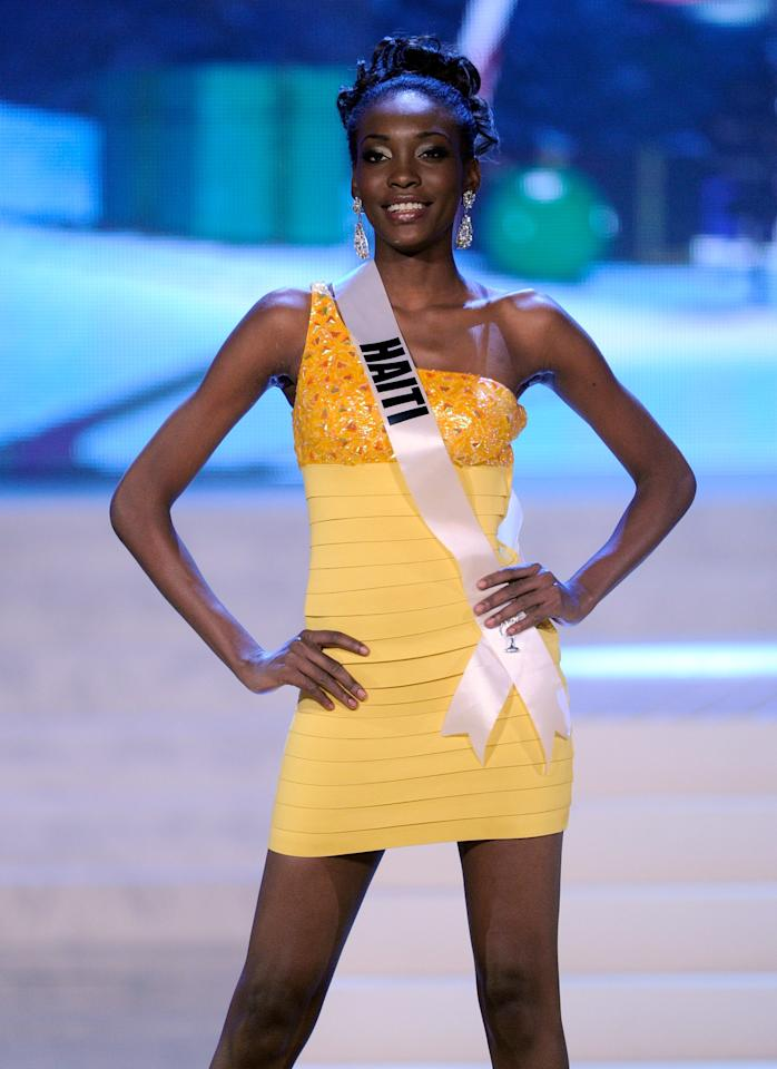 LAS VEGAS, NV - DECEMBER 19:  Miss Haiti 2012, Christela Jacques, is introduced during the 2012 Miss Universe Pageant at PH Live at Planet Hollywood Resort & Casino on December 19, 2012 in Las Vegas, Nevada.  (Photo by David Becker/Getty Images)