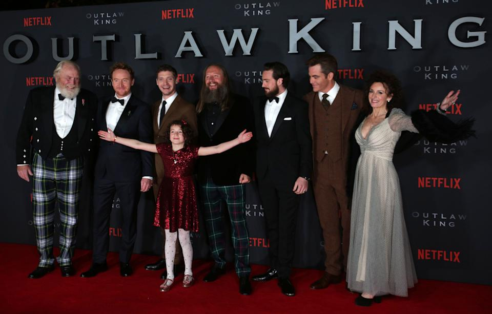 Director David Mackenzie (centre) along with cast members at the Scottish premiere of Outlaw King at the Vue Omni in Edinburgh. (Photo by David Cheskin/PA Images via Getty Images)