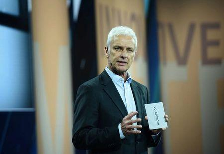 VW CEO Mueller attends event ahead of auto show, in Shanghai