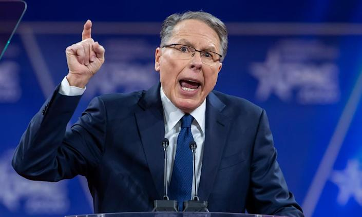 Wayne LaPierre, CEO of the NRA, speaks at CPAC in February.