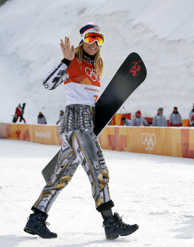 Gold medal winner Ester Ledecka, of the Czech Republic, celebrates after the women's parallel giant slalom at Phoenix Snow Park at the 2018 Winter Olympics in Pyeongchang, South Korea, Saturday, Feb. 24, 2018. (AP Photo/Lee Jin-man)