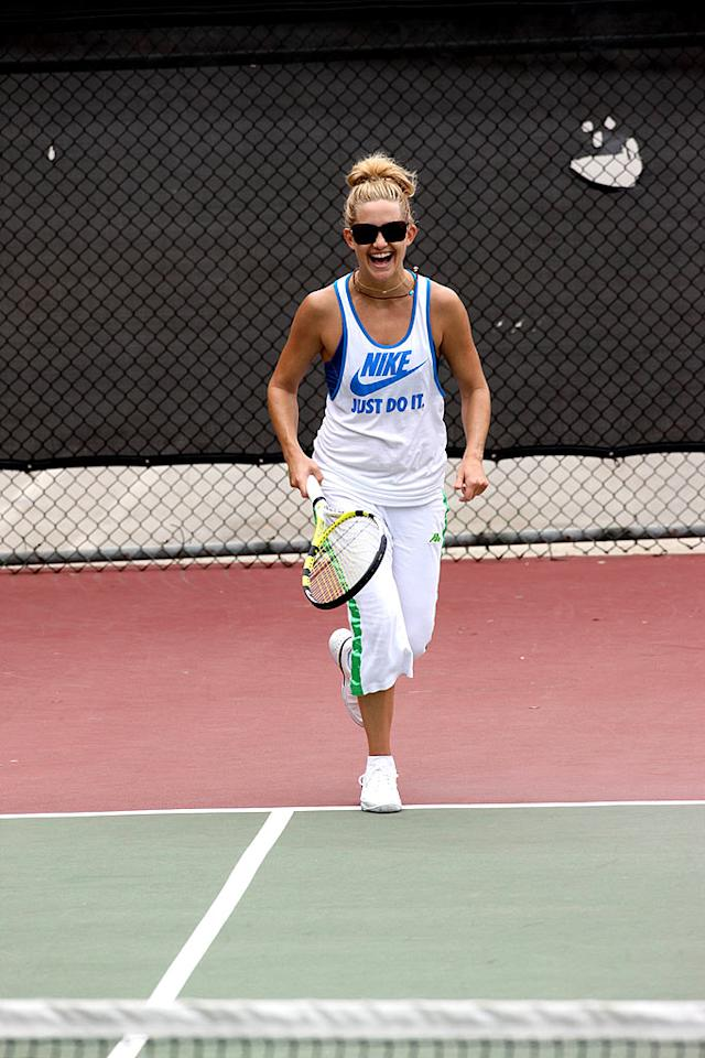 """Kate Hudson work up a sweat playing tennis in the Pacific Palisades. Ginsburg-Spaly-DiCapua/<a href=""""http://www.x17online.com"""" target=""""new"""">X17 Online</a> - July 8, 2008"""
