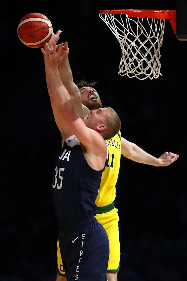 MELBOURNE, AUSTRALIA - AUGUST 24: Mason Plumlee of the USA (L) is blocked by Nicholas Kay of the Boomers during game two of the International Basketball series between the Australian Boomers and United States of America at Marvel Stadium on August 24, 2019 in Melbourne, Australia. (Photo by Kelly Defina/Getty Images)