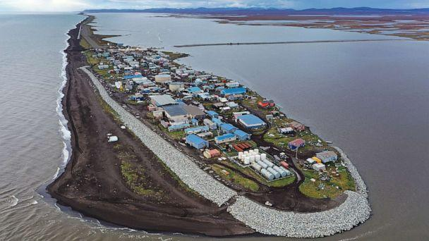 PHOTO: An aerial view of the remote village of Kivalina, which is at the very end of an eight-mile barrier reef located between a lagoon and the Chukchi Sea on Sept. 10, 2019 in Kivalina, Alaska. (Joe Raedle/Getty Images, FILE)
