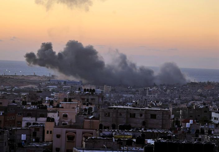 Smoke billows from an Israeli airstrike in Rafah in the southern Gaza Strip on May 18.