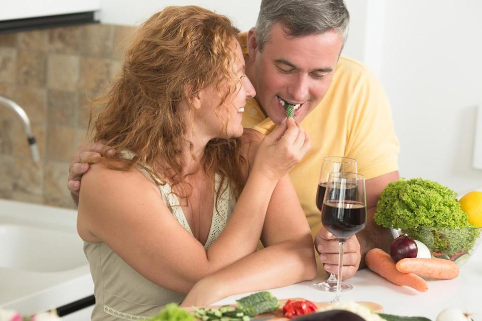 """Shave hundreds of calories off your diet and reduce your risk of diabetes and heart disease by implementing a so-called """"Meatless Monday."""" (It's exactly what it sounds like.) By simply opting for veggie-based proteins instead on this one day a week, you can reduce your <a href=""""https://bestlifeonline.com/unhealthy-heart-signs/?utm_source=yahoo-news&utm_medium=feed&utm_campaign=yahoo-feed"""" rel=""""nofollow noopener"""" target=""""_blank"""" data-ylk=""""slk:risk of heart disease"""" class=""""link rapid-noclick-resp"""">risk of heart disease</a> and perhaps even shed a few pounds in the process."""