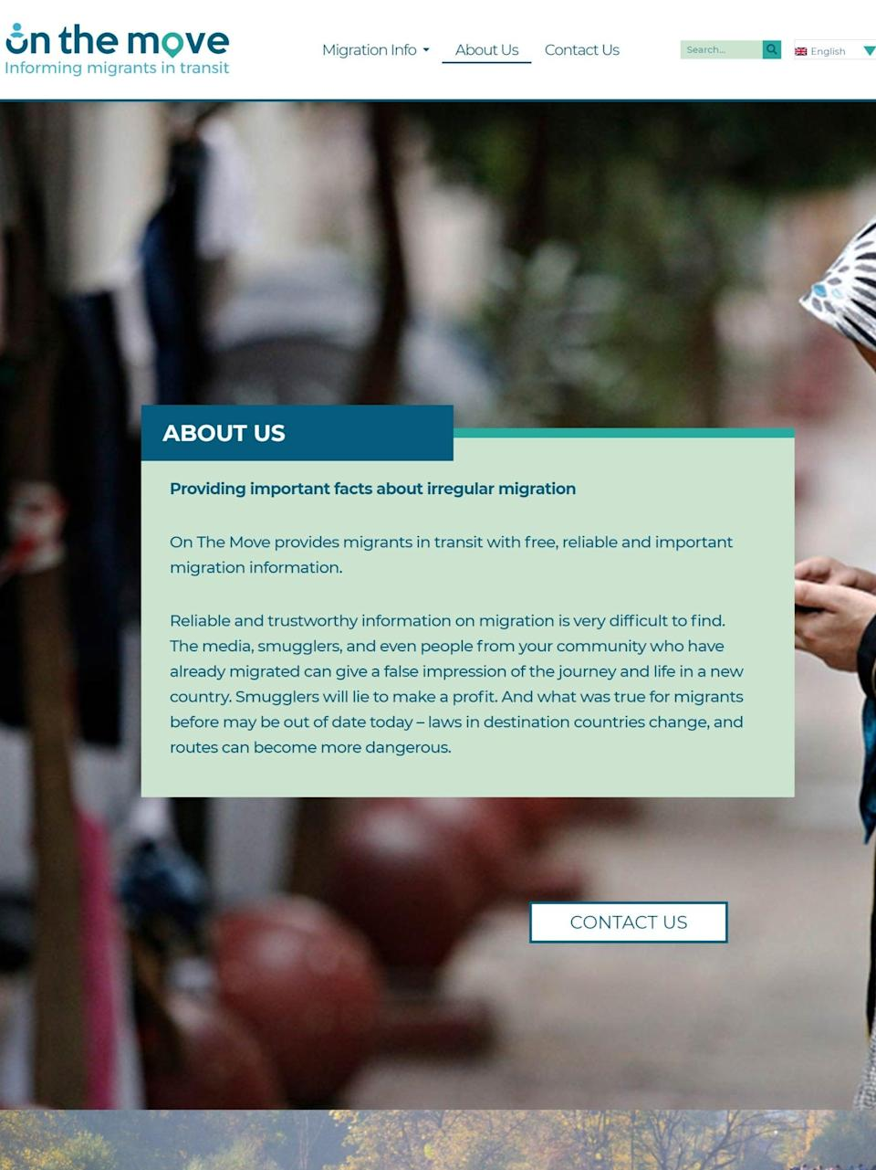 The 'about us' section of the Home Office's 'On The Move' website (screengrab)