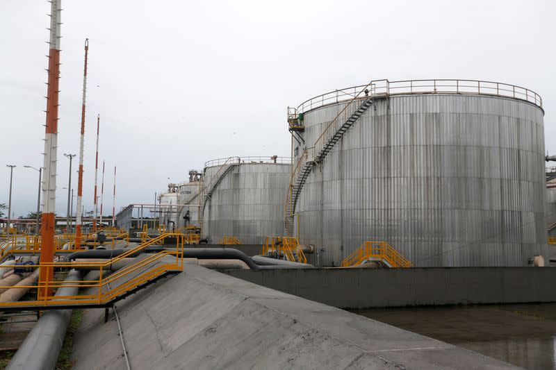 Storage tanks are seen at Ecopetrol's Castilla oil rig platform, in Castilla La Nueva
