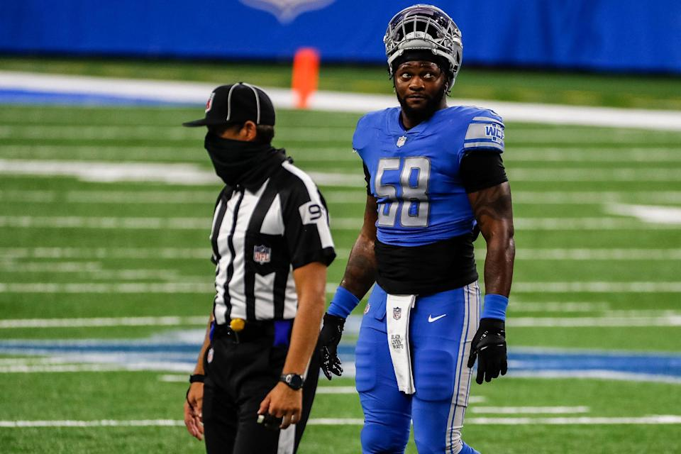 Detroit Lions outside linebacker Jamie Collins (58) walks off the field after being ejected during first half of the season opener against the Chicago Bears, Sunday, Sept. 13, 2020.