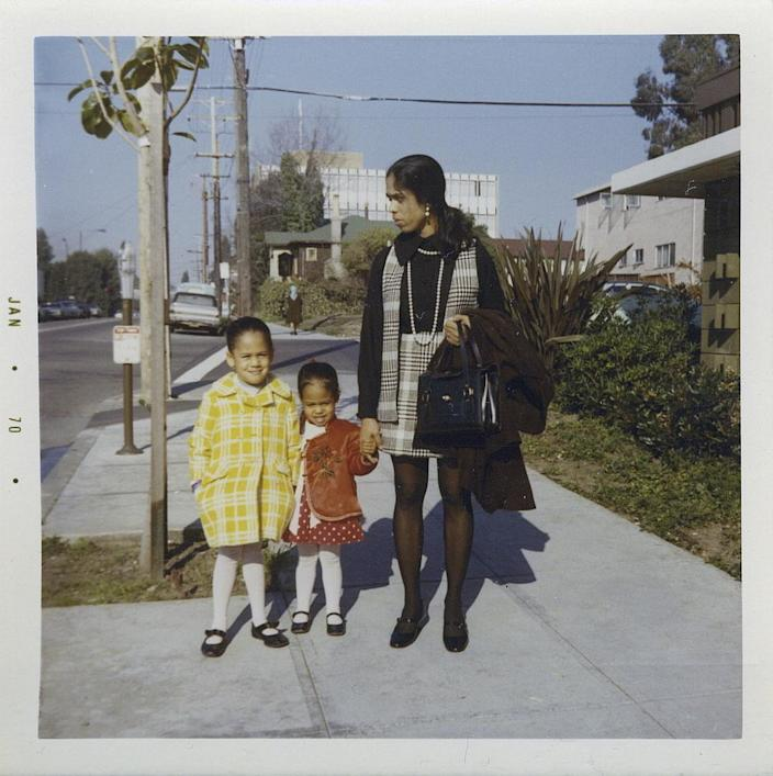"""<span class=""""element-image__caption"""">Harris, left, with her sister, Maya, and mother, Shyamala, outside their apartment in Berkeley, California, in 1970.</span> <span class=""""element-image__credit"""">Photograph: Courtesy Kamala Harris Campaign/AP</span>"""