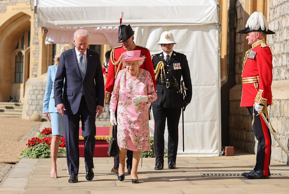WINDSOR, ENGLAND - JUNE 13:  US President Joe Biden and Queen Elizabeth II at Windsor Castle on June 13, 2021 in Windsor, England.  Queen Elizabeth II hosts US President, Joe Biden and First Lady Dr Jill Biden at Windsor Castle. The President arrived from Cornwall where he attended the G7 Leader's Summit and will travel on to Brussels for a meeting of NATO Allies and later in the week he will meet President of Russia, Vladimir Putin.  (Photo by Chris Jackson/Getty Images)