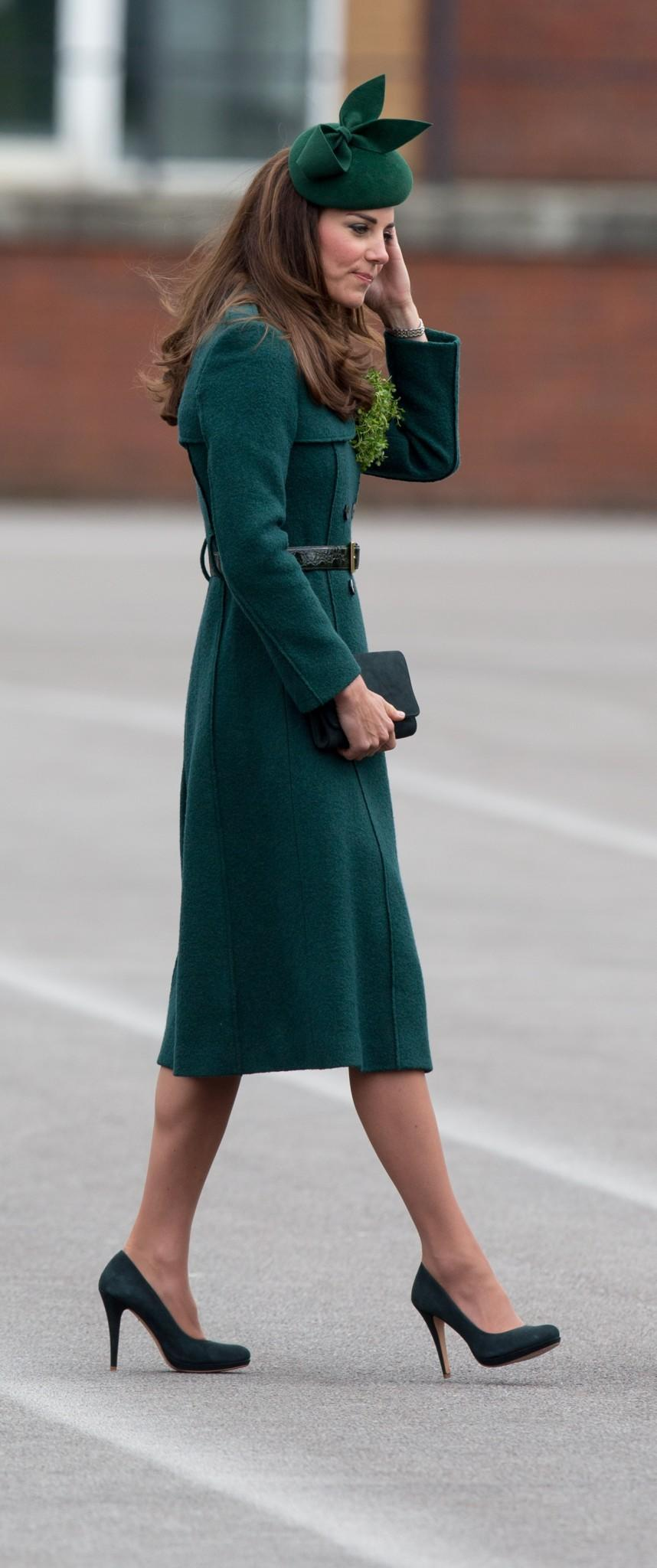 <p>The Duchess finished off her look with a green, felt Gina Foster hat.<em> [Photo: PA]</em> </p>
