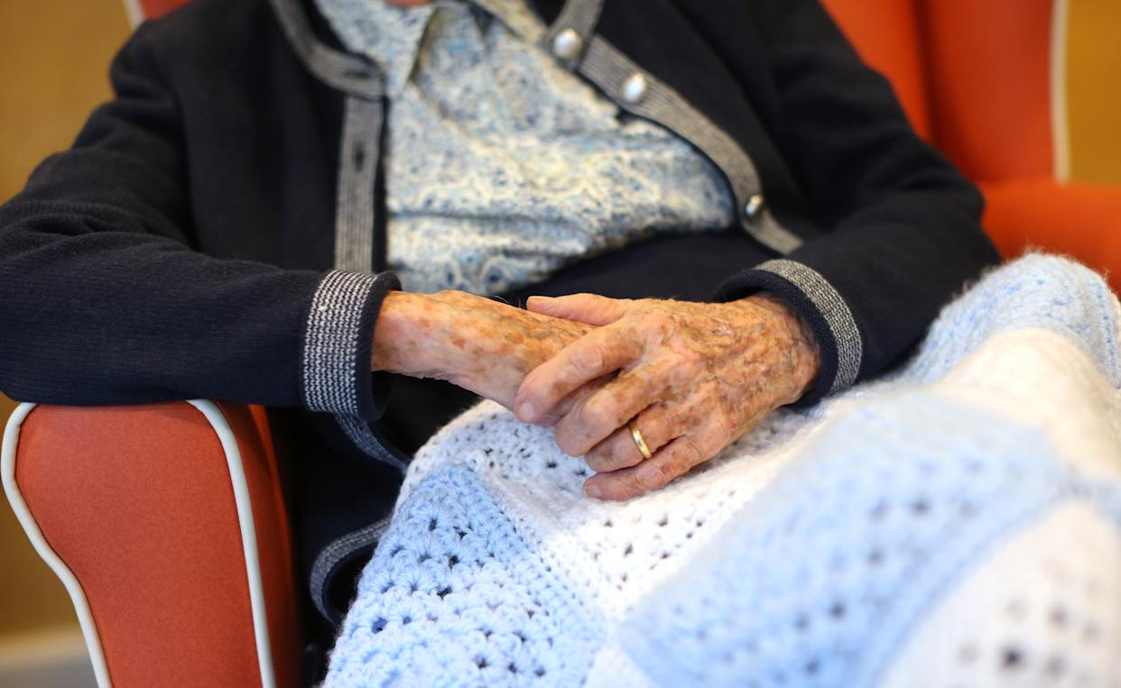 The hands of an elderly woman at a nursing home in south London, as research has revealed that care home residents were more likely to die of Covid-19 in the UK than in any of the major European countries apart from Spain. Picture date: Wednesday July 1, 2020.