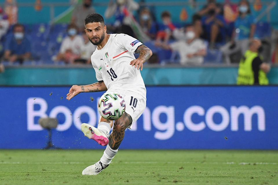 Italy's Lorenzo Insigne scores his side's third goal against Turkey in the opening game at Euro 2020 (AP)