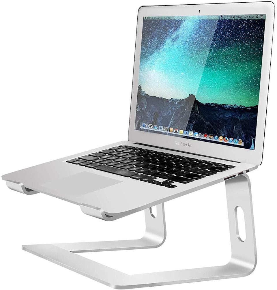 "<h2>40% Off Soundance Aluminum Laptop Riser Stand</h2><br>With over 12,000 global reviewers and a 86% 5-out-of-5-star approval rating, this Cyber-Monday special will make a solid addition to your home-office setup. As one reviewer describes, ""I have a workstation at my home office and I like to work with multiple screens through docking stations. Sometimes the most brilliantly engineered products are the simplest. This is certainly the case here. Though on the surface it looks like a very simple product, you can tell that a lot of thought went into its design. From an aesthetic standpoint, it's gorgeous simplicity is the perfect complement to a Mac laptop or high-end aluminum PC. It even looks great sitting on the desk by itself. The size is good. It lifts the screen to a good readable height, so no more hunching over the laptop. From a functional standpoint, this laptop stand elevates your computer to the perfect height, has an open bottom for maximum heat dispersion, is solidly constructed and easily disassembled for transport if you need."" <br><br><strong>Soundance</strong> Aluminum Laptop Riser Stand, $, available at <a href=""https://amzn.to/3qgGil5"" rel=""nofollow noopener"" target=""_blank"" data-ylk=""slk:Amazon"" class=""link rapid-noclick-resp"">Amazon</a>"
