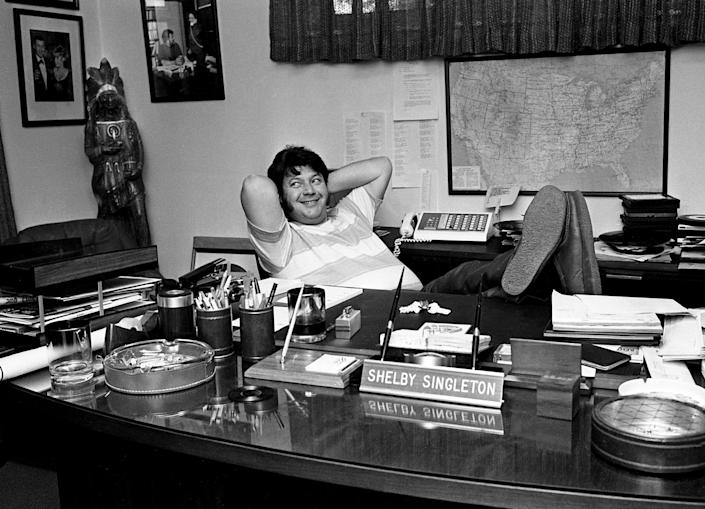 Shelby Singleton, record producer and record label owner, gives an interview in his office at 3106 Belmont Blvd. June 24, 1969. He is talking about how he recorded the first female black country and western singer, Linda Martell, on his Plantation Records label.