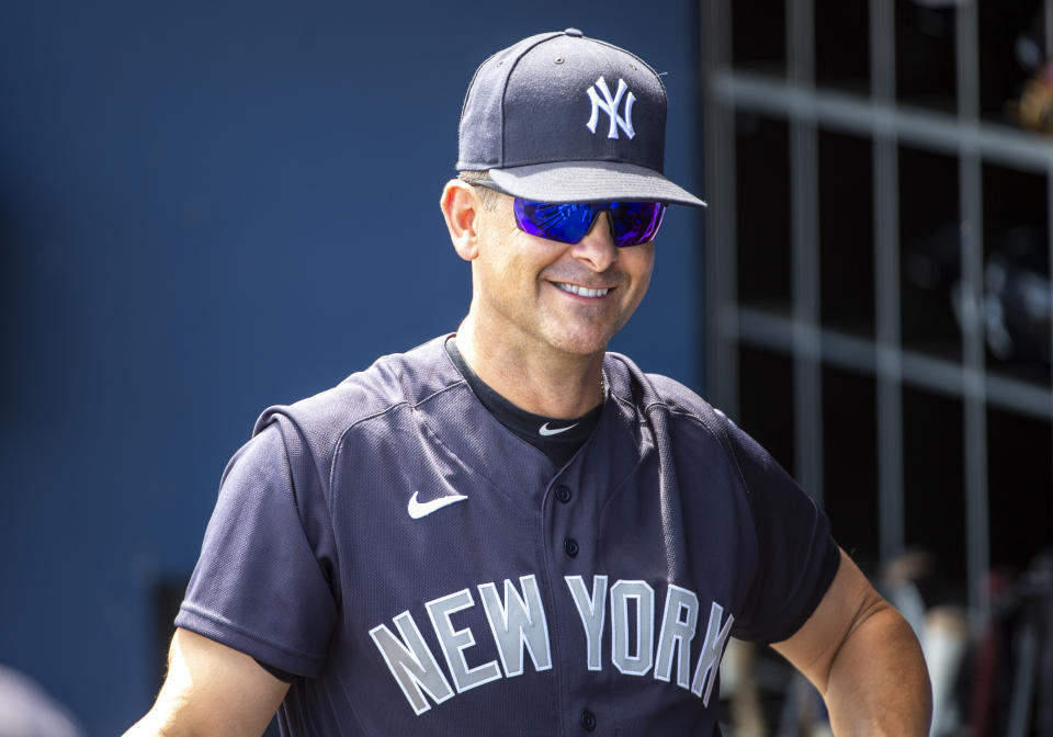 WEST PALM BEACH, FL - MARCH 12: New York Yankees Manager Aaron Boone (17) in the dugout during an MLB spring training game between the New York Yankees and the Washington Nationals at The FITTEAM Ballpark of the Palm Beaches in West Palm Beach, Florida on March 12, 2020.  Following this game, Major League Baseball suspended spring training games in response to the Coronavirus pandemic. (Photo by Doug Murray/Icon Sportswire via Getty Images)