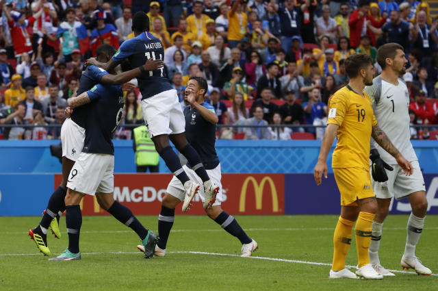 France player celebrate after scoring their side's second goal during the group C match between France and Australia at the 2018 soccer World Cup in the Kazan Arena in Kazan, Russia, Saturday, June 16, 2018. (AP Photo/Darko Bandic)
