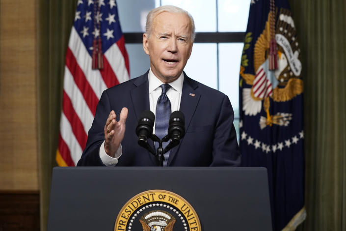 FILE - In this April 14, 2021, file photo President Joe Biden speaks from the Treaty Room in the White House about the withdrawal of the remainder of U.S. troops from Afghanistan. (AP Photo/Andrew Harnik, Pool, File)