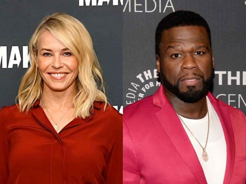 Chelsea Handler and 50 Cent at events in early 2020 (Rachel Murray/Brad Barket/Getty Images)