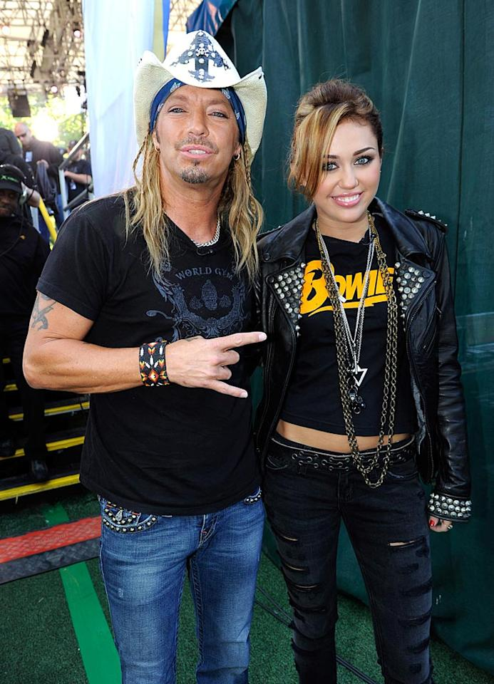 """""""Celebrity Apprentice"""" champ Bret Michaels joined pop princess Miley Cyrus for a concert in NYC's Central Park for the """"Good Morning America"""" cameras on Friday. Kevin Mazur/<a href=""""http://www.wireimage.com"""" target=""""new"""">WireImage.com</a> - June 18, 2010"""