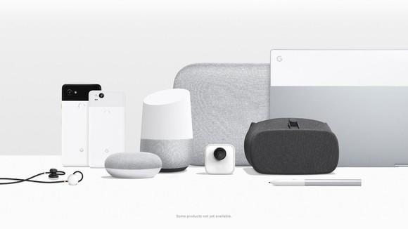 Google's hardware lineup, including two phones, a 2-in-1 laptop, smart home devices, earbuds, and a camera.