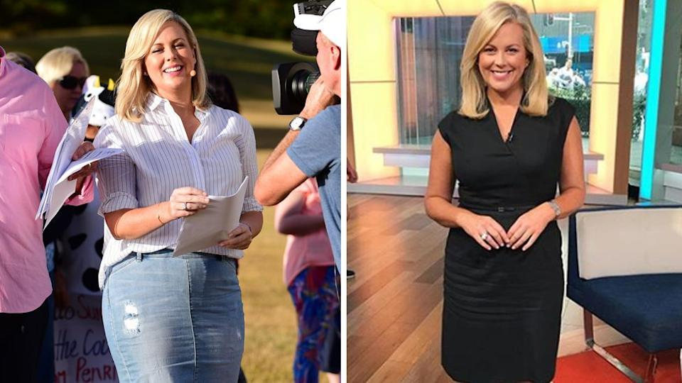 Samantha Armytage in 2016 (L) and in 2019 (R).