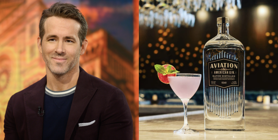 """<p>In 2017, while spending time in Vancouver, actor Ryan Reynolds kept ordering the same Negroni cocktail again and again at a bar. Eventually he realized the Negroni was so delicious because it was made with Aviation Gin, a Portland, OR, craft gin that has been on the market since 2005. In 2018, <a href=""""https://www.delish.com/food-news/a22687374/ryan-reynolds-owns-aviation-gin/"""" rel=""""nofollow noopener"""" target=""""_blank"""" data-ylk=""""slk:Reynolds became the owner of the company"""" class=""""link rapid-noclick-resp"""">Reynolds became the owner of the company</a> that's known for its gin that balances seven botanicals instead of being overpowered by juniper.</p><p><a class=""""link rapid-noclick-resp"""" href=""""https://go.redirectingat.com?id=74968X1596630&url=https%3A%2F%2Fwww.reservebar.com%2Fproducts%2Faviation-american-gin&sref=https%3A%2F%2Fwww.delish.com%2Ffood%2Fg32949671%2Fcelebrity-alcohol-brands%2F"""" rel=""""nofollow noopener"""" target=""""_blank"""" data-ylk=""""slk:BUY NOW"""">BUY NOW</a> <em><strong>$33, reservebar.com</strong></em></p>"""