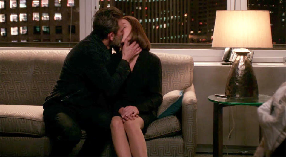 <p>Jeffrey Dean Morgan's Jason was a walking tease, so like Julianna Margulies's Alicia, we were really ready for this to happen. When she only half-jokingly wonders if she's developed a drinking problem, Jason takes away her tequila bottle, asks her to close her eyes and listen to the sound of his breathing, and then kisses her. The firm's lights turn off at 11 p.m., so the show is able to give us another of its signature cleverly shrouded sex scenes with the sound of zippers and buttons coming undone. Replacing tequila with trysts with Jason, Alicia? We're willing enablers. —<em>MB</em> <br>(Photo: CBS) </p>