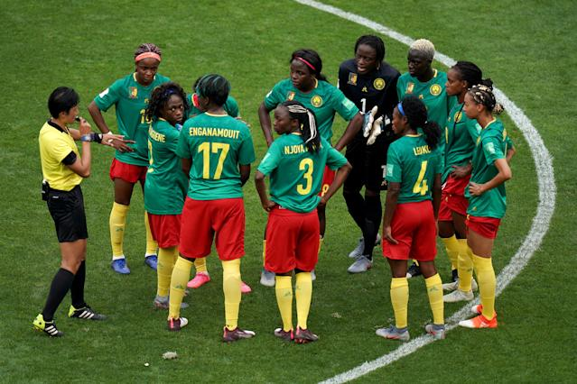 Cameroon initially refused to restart following England's second goal. (Credit: Getty Images)