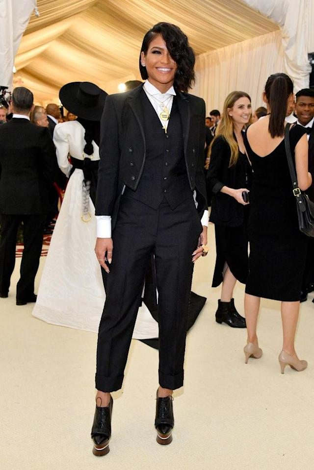 <p>Both Cassie and her date Diddy wore pants to the event. Cassie's just happened to be Thom Browne. (Photo: Getty Images) </p>