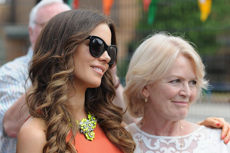 Kate Beckinsale with mother Judy Loe during a visit to College House Junior School where the Hollywood actress unveiled a plaque in memory of her late father, Richard Beckinsale, who was a pupil at the school.   (Photo by Joe Giddens/PA Images via Getty Images)