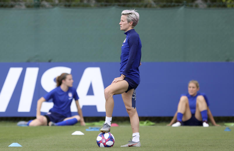 United States' Megan Rapinoe pauses during a training session of the US Women's Soccer team at a training ground in Lyon, France, Monday, July 1, 2019. The US will face England in a Women's World Cup semifinal match Tuesday in Lyon. (AP Photo/Laurent Cipriani)