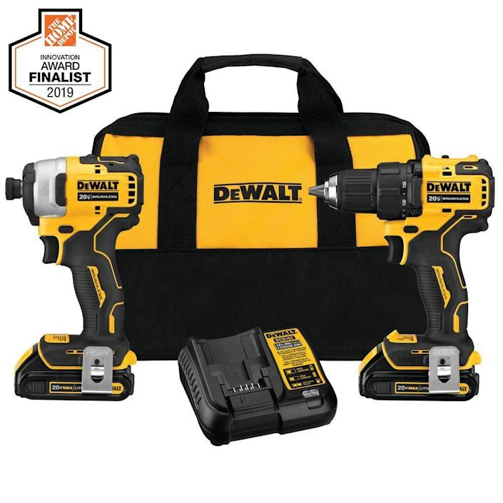 """<p><strong>DEWALT</strong></p><p>homedepot.com</p><p><strong>$229.00</strong></p><p><a href=""""https://go.redirectingat.com?id=74968X1596630&url=https%3A%2F%2Fwww.homedepot.com%2Fp%2FDEWALT-ATOMIC-20-Volt-MAX-Cordless-Brushless-Compact-Drill-Impact-Combo-Kit-2-Tool-with-2-1-3Ah-Batteries-Charger-Bag-DCK278C2%2F308067489&sref=https%3A%2F%2Fwww.elledecor.com%2Fhome-remodeling-renovating%2Fhome-makeovers%2Fg36087440%2Feasy-diy-home-renovation-projects%2F"""" rel=""""nofollow noopener"""" target=""""_blank"""" data-ylk=""""slk:Shop Now"""" class=""""link rapid-noclick-resp"""">Shop Now</a></p><p>Whether you're assembling furniture or hanging a new TV, having a durable drill will make any project work more smoothly. The tools in the DeWalt cordless set will help you with surfaces where precision is key.</p>"""