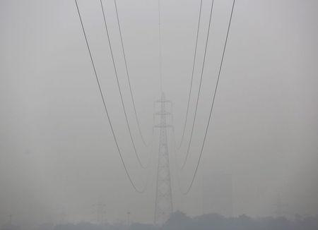 High tension electric pylons are pictured on a smoggy day in New Delhi, November 30, 2015. REUTERS/Anindito Mukherjee