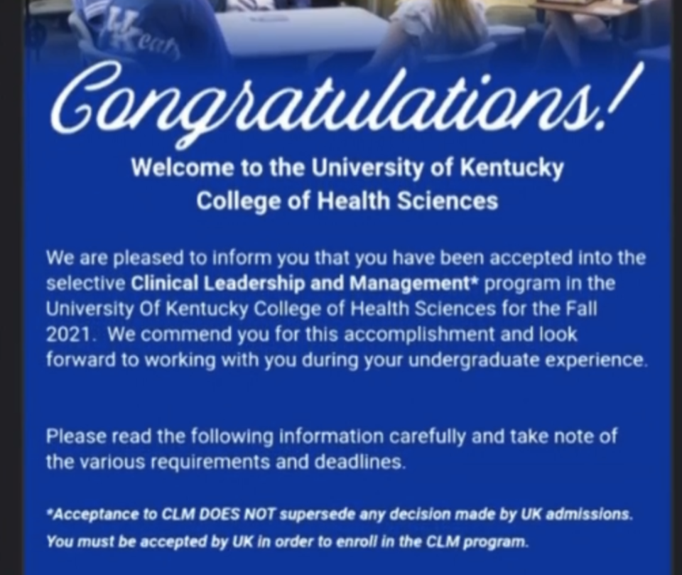 The University of Kentucky acceptance email.
