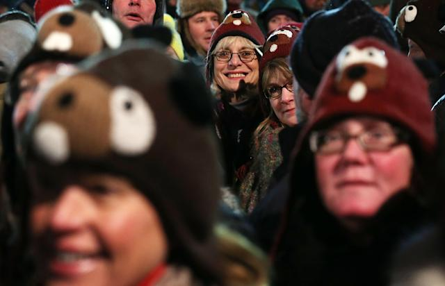 PUNXSUTAWNEY, PA - FEBRUARY 02: A crowd waits for the Punxsutawney Phil to come out from his winter den during the 127th Groundhog Day Celebration at Gobbler's Knob on February 2, 2013 in Punxsutawney, Pennsylvania. The Punxsutawney 'Inner Circle' claimed that there were about 35,000 people gathered at the event to watch Phil's annual forecast. (Photo by Alex Wong/Getty Images)