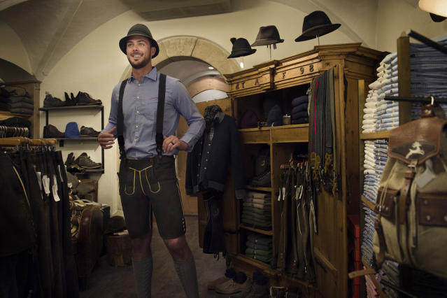 Kris Bryant tries on lederhosen while on vacation in Austria. (Photo via Red Bull)