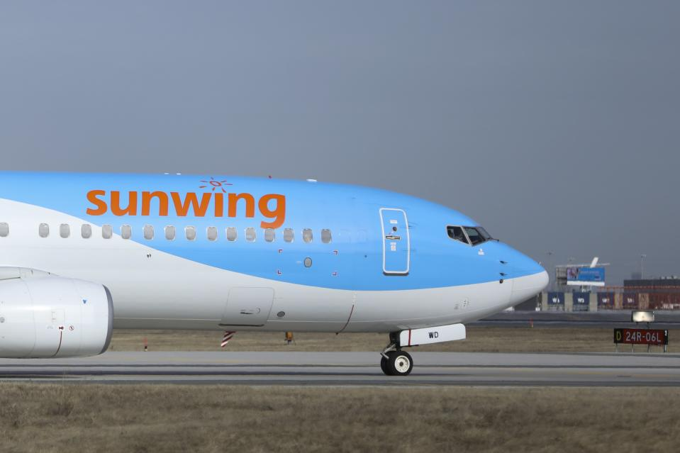 TORONTO, ON - MARCH 5: Sunwing Boeing 737-8K5 taxis to the runway at Toronto Pearson International Airport for a departure to Rio Hato.        (Randy Risling/Toronto Star via Getty Images)