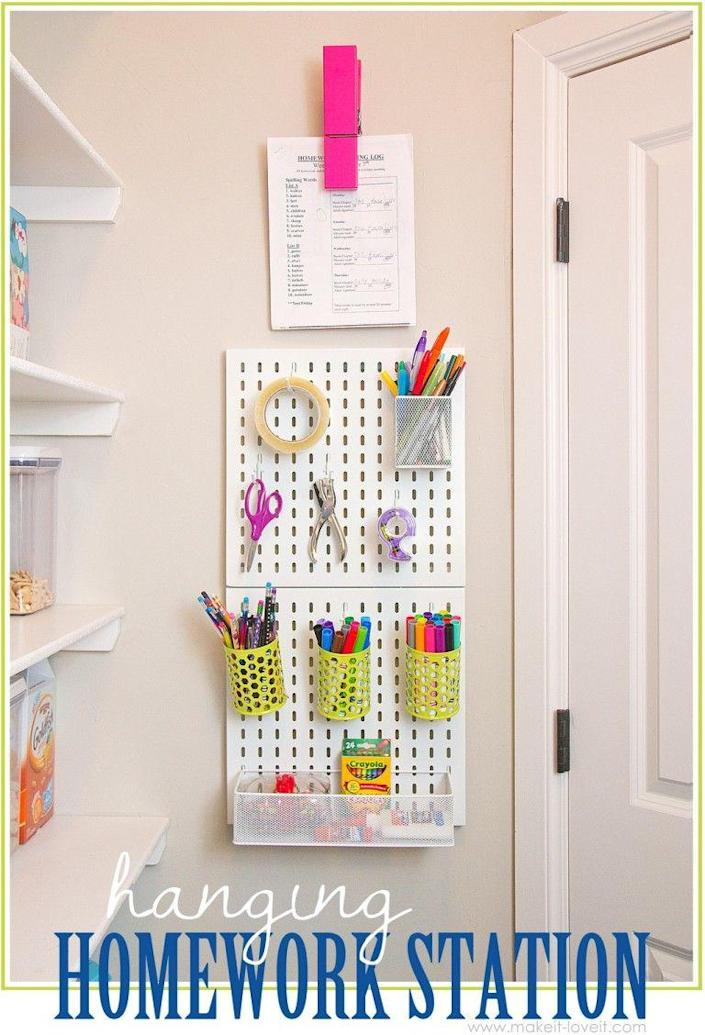 """<p>If your kid's desk or shelves are cluttered with school supplies, clear some room for them to work by displaying markers, pens, crayons, and other craft tools on the wall. </p><p><strong><em><a href=""""https://makeit-loveit.com/hanging-art-supply-station-for-kids"""" rel=""""nofollow noopener"""" target=""""_blank"""" data-ylk=""""slk:Get the tutorial at Make It & Love It"""" class=""""link rapid-noclick-resp"""">Get the tutorial at Make It & Love It</a>. </em></strong></p><p><a class=""""link rapid-noclick-resp"""" href=""""https://www.amazon.com/HJW-Pegboard-Organizer-Accessories-Installation/dp/B08PBS5GYJ?tag=syn-yahoo-20&ascsubtag=%5Bartid%7C10070.g.37133630%5Bsrc%7Cyahoo-us"""" rel=""""nofollow noopener"""" target=""""_blank"""" data-ylk=""""slk:SHOP PEGBOARD WALL MOUNT"""">SHOP PEGBOARD WALL MOUNT</a> <br></p>"""