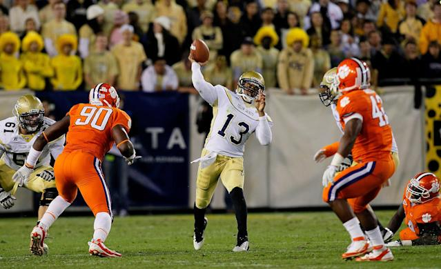 ATLANTA, GA - OCTOBER 29: Tevin Washington #13 of the Georgia Tech Yellow Jackets passes downfield against the Clemson Tigers at Bobby Dodd Stadium on October 29, 2011 in Atlanta, Georgia. (Photo by Kevin C. Cox/Getty Images)