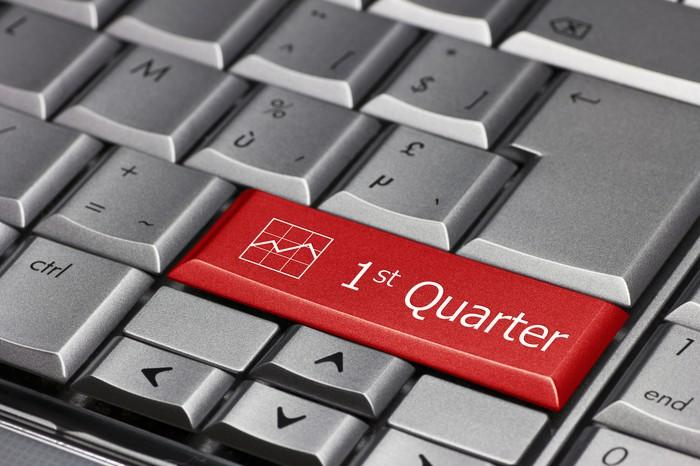 A silver keyboard with a red key showing the words 1st quarter.