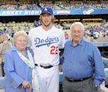 Tommy Lasorda with Clayton Kershaw on September 28, 2013 in Los Angeles, California.