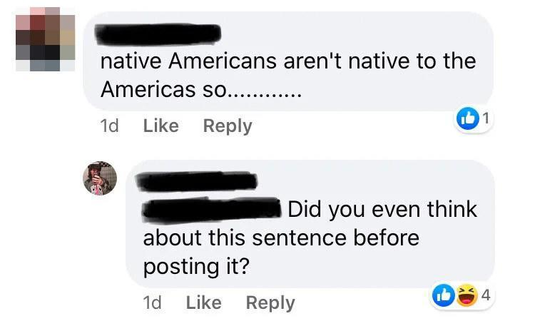 person who thinks Native Americans aren't Americans