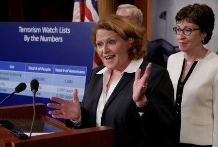 FILE PHOTO: Senator Heidi Heitkamp (D-ND) speaks at a news conference on Capitol Hill in Washington, D.C., U.S., to unveil a compromise proposal on gun control measures, June 21, 2016. REUTERS/Yuri Gripas